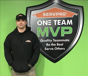 Man by SERVPRO MVP sign - Dillon Butler - Production Technician