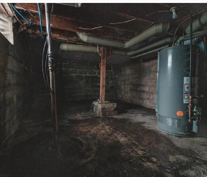 Water damage in a basement.
